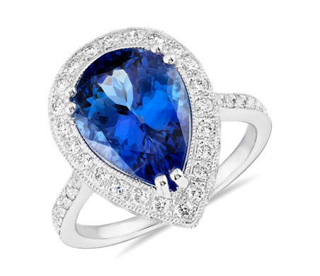 Bague de cocktail halo de diamants et tanzanite taille poire en or blanc 18 carats (4,38 carats, poids total)