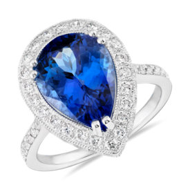 NEW Pear-Shaped Tanzanite and Diamond Cocktail Ring in 18k White Gold (4.38 ct. tw.)