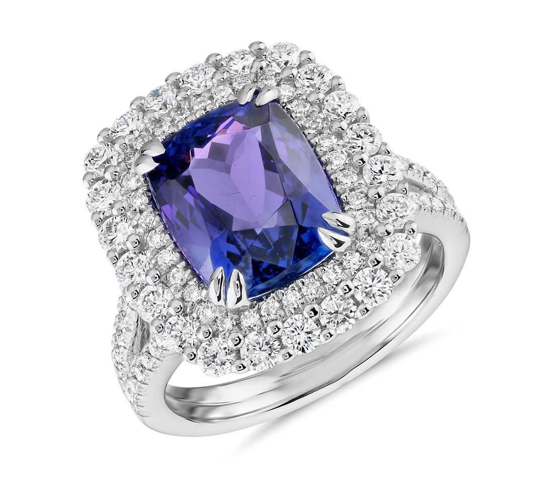 Cushion-Shaped Tanzanite and Diamond Halo Cocktail Ring in 18k White Gold