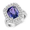 18k 白金墊形坦桑石與鑽石光環酒會戒指( 4.95 克拉總重量)