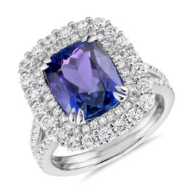 NEW Cushion-Shaped Tanzanite and Diamond Cocktail Ring in 18k White Gold (4.95 ct. tw.)