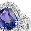 Cushion-Shaped Tanzanite and Diamond Cocktail Ring in 18k White Gold (4.95 ct. tw.)