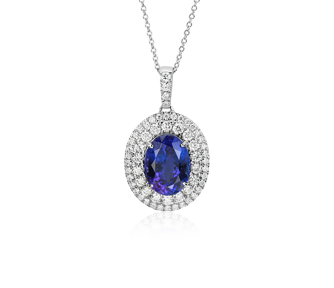 Oval Tanzanite and Diamond Double Halo Pendant in 18k White Gold (4.78 ct. center)