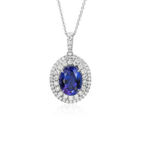 Oval Tanzanite and Diamond Double Halo Pendant in 18k White Gold (4.78 ct. centre)