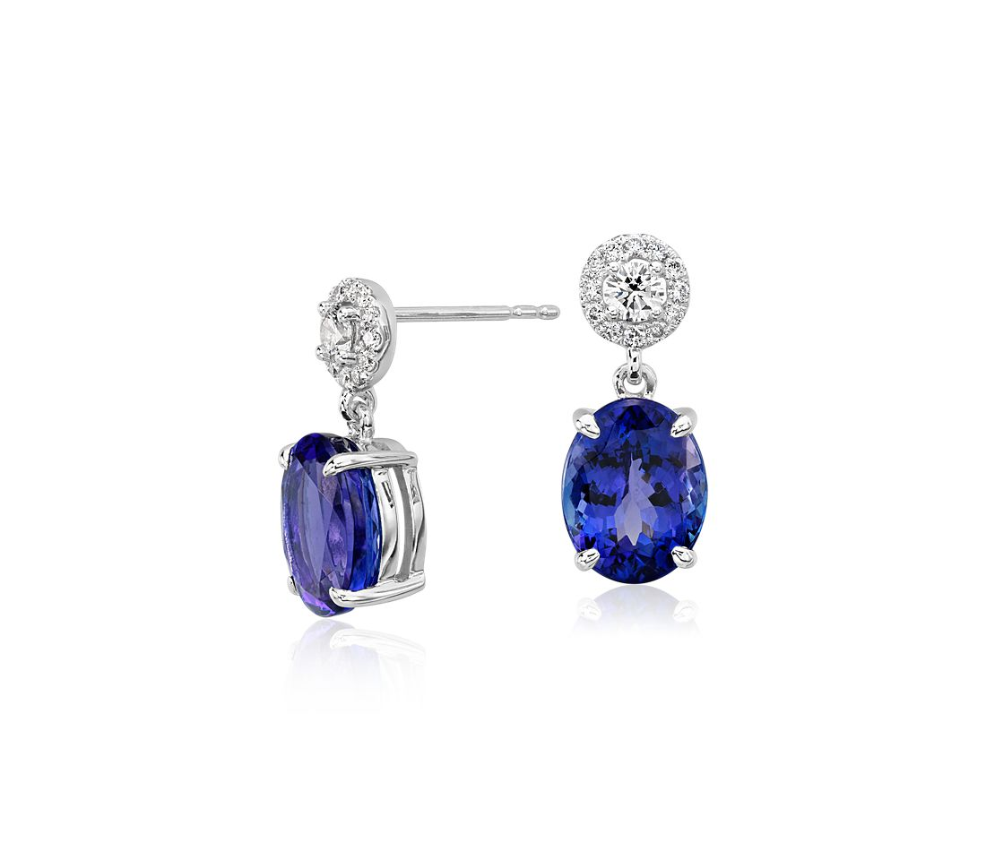 Oval Tanzanite And Diamond Halo Drop Earrings In 18k White Gold 9x7 Mm