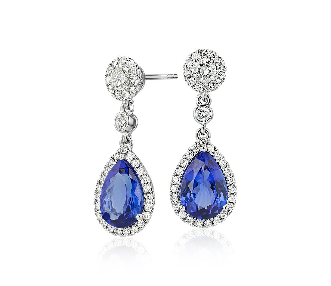 Pear Shaped Tanzanite And Diamond Drop Earrings In 18k