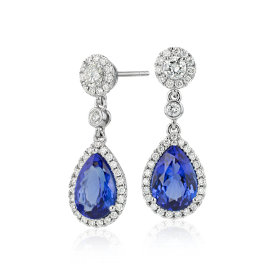 NEW Pear-Shaped Tanzanite and Diamond Drop Earrings in 18k White Gold (4.24 ct. tw.)