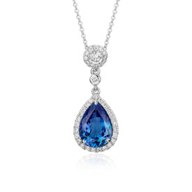 NEW Pear-Shaped Tanzanite and Diamond Drop Pendant in 18k White Gold (3.20 ct. tw.)
