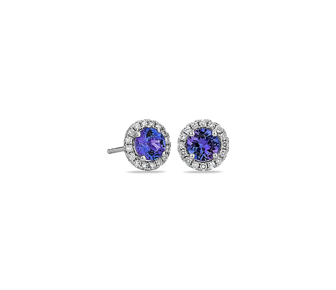 Tanzanite And Micropavé Diamond Stud Earrings In 14k White Gold 5mm