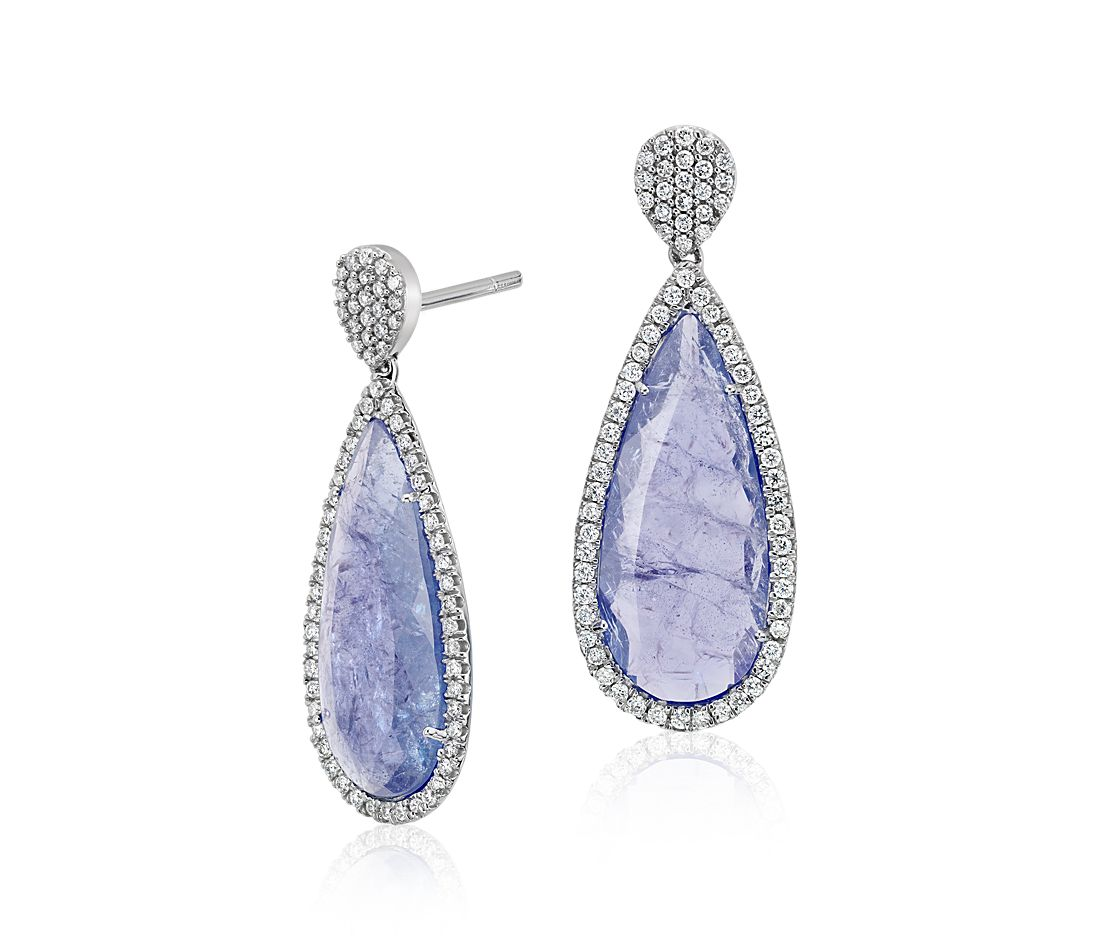 Tanzanite and Micropavé Diamond Drop Earrings in 18k White Gold
