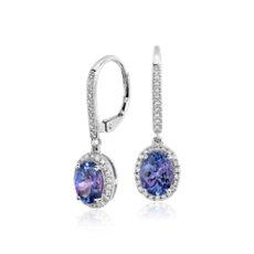 14k 白金坦桑石與鑽石圈形吊式耳環(8x6毫米)