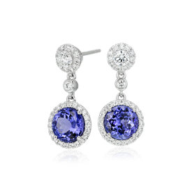 NEW Tanzanite and Diamond Drop Earrings in 18k White Gold (3.90 ct. tw.)