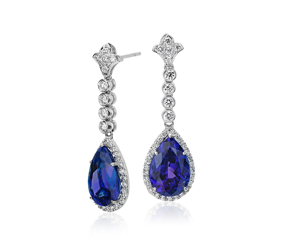 Tanzanite And Diamond Drop Earrings In 18k White Gold 12 49 Cts