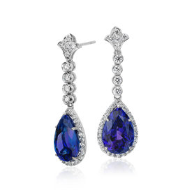 Tanzanite and Diamond Drop Earrings in 18k White Gold (12.49 cts)