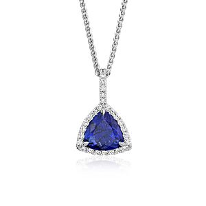 Trillion-Cut Tanzanite Diamond Halo Pendant in 18k White Gold (4.83 ct.)