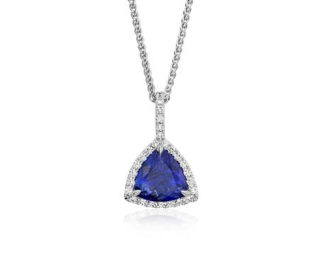 Trillion cut tanzanite diamond halo pendant in 18k white gold trillion cut tanzanite diamond halo pendant in 18k white gold 483 ct mozeypictures Images