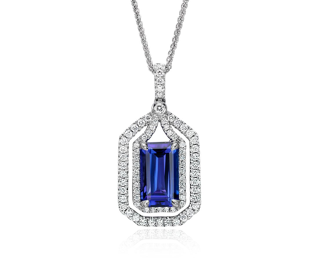 Tanzanite and Diamond Halo Pendant in 18k White Gold (4.74 ct. center)