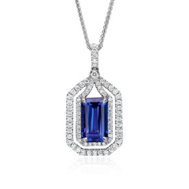 Pendentif halo en diamants et tanzanite en or blanc 18 carats (4,74 ct au centre)