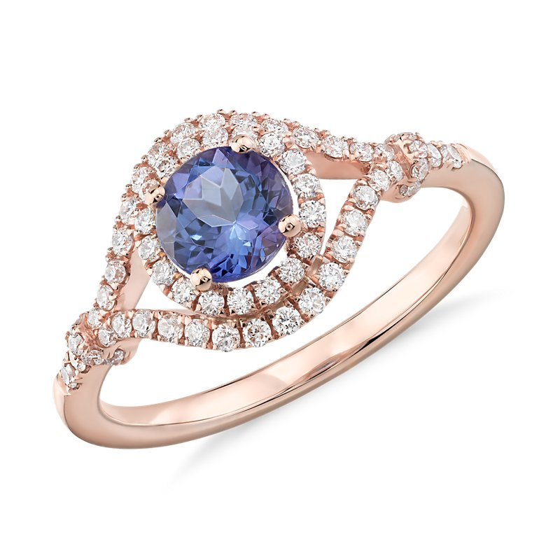 Tanzanite and Diamond Halo Elegant Ring in 14k Rose Gold (5.5mm)