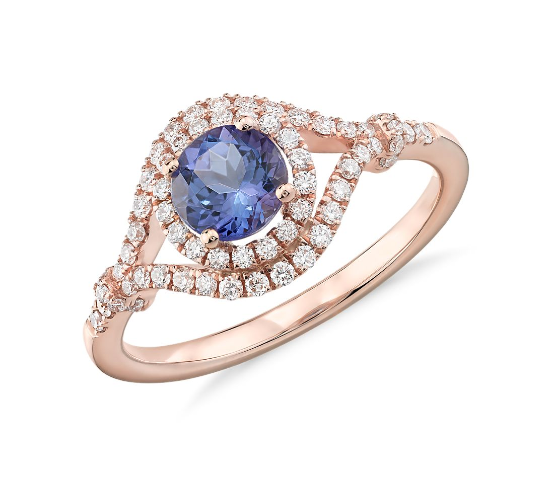 tanzanite jewelry affordable wedding rings Tanzanite and Diamond Elegant Ring in 14k Rose Gold 5 5mm
