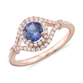 Élégante bague diamant et tanzanite en or rose 14carats (5,5mm)