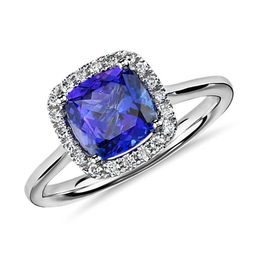 Tanzanite Cushion And Diamond Halo Ring In 14k White Gold
