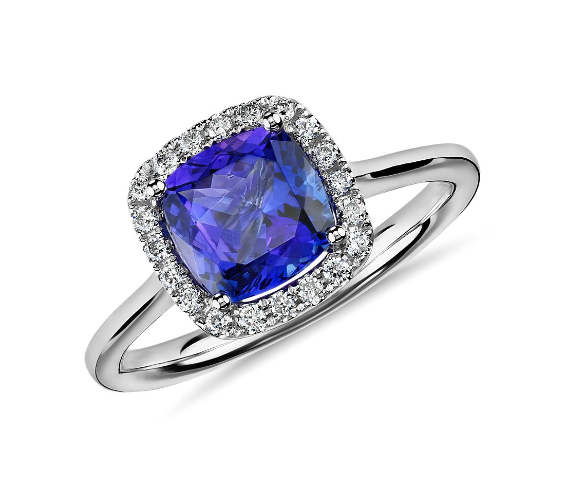 tanzanite cushion and diamond halo ring in 14k white gold 7x7mm blue nile. Black Bedroom Furniture Sets. Home Design Ideas