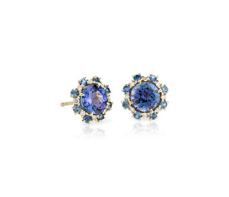 Tanzanite Stud Earrings with Sapphire and Diamond Halos in 14k Yellow Gold (6mm)