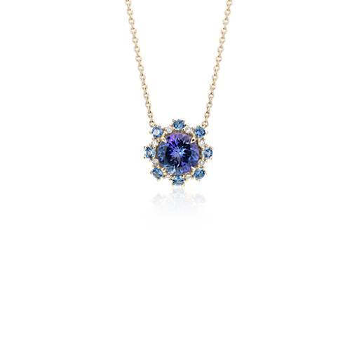 Tanzanite Pendant With Sapphire And Diamond Halo In 14k