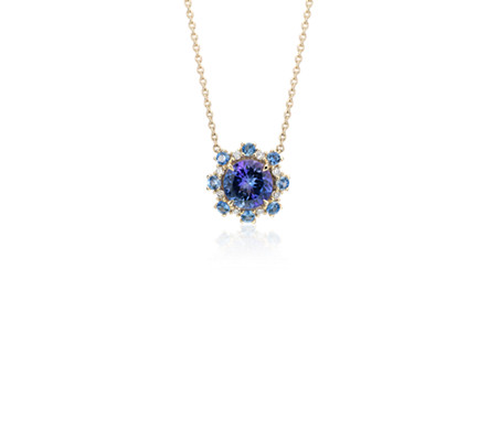 Tanzanite Pendant with Sapphire and Diamond Halo in 14k Yellow Gold (6mm)