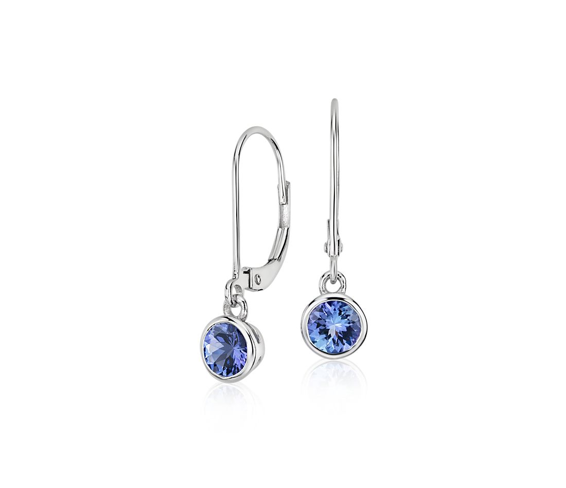 Tanzanite Bezel Drop Earrings In 14k White Gold 5mm