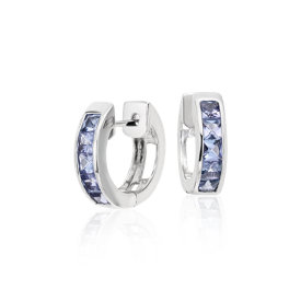 Tanzanite Hinged Hoop Earrings in Sterling Silver (3mm)