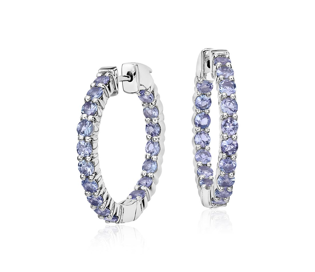 Tanzanite Hoop Earrings In Sterling Silver 3mm
