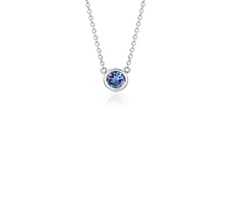 Tanzanite bezel necklace in 14k white gold 5mm blue nile tanzanite bezel necklace in 14k white gold 5mm mozeypictures Choice Image