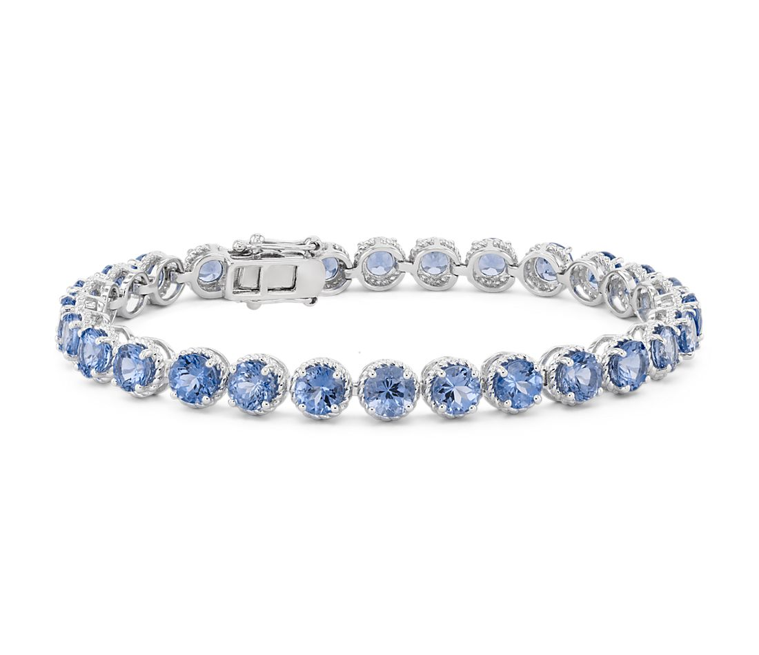 Tanzanite Round Rope Bracelet in Sterling Silver (5mm)