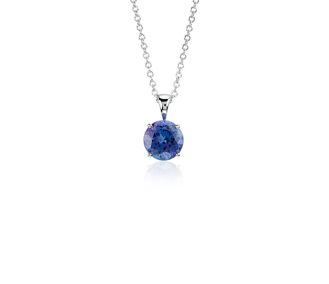 Tanzanite Solitaire Pendant in 14k White Gold (7mm)