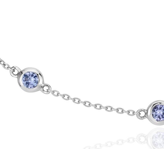 Collar con tanzanitas enhebradas en plata de ley (3mm)