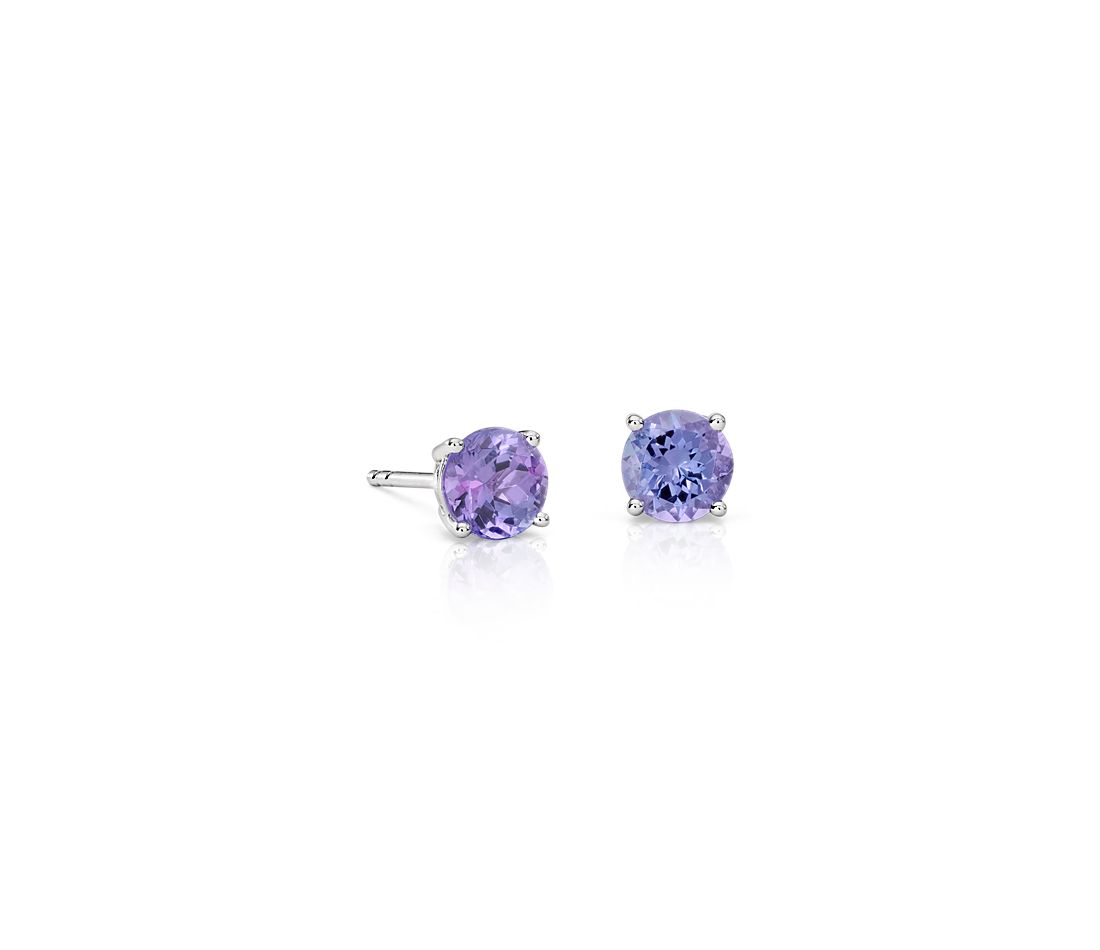 Tanzanite Stud Earrings In 18k White Gold 5mm