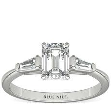 Bague de fiançailles diamant baguette fuselé en or blanc 14carats (0,14carat, poids total)