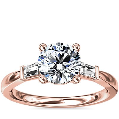 Tapered Baguette Diamond Engagement Ring in 14k Rose Gold (1/6 ct. tw.)