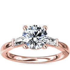 Tapered Baguette Diamond Engagement Ring in 18k Rose Gold (1/6 ct. tw.)