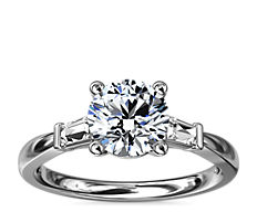 NEW Tapered Baguette Diamond Engagement Ring in 18k White Gold (1/6 ct. tw.)