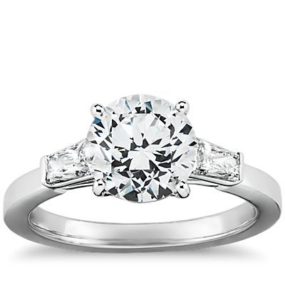 Tapered Brilliant Baguette Diamond Engagement Ring in Platinum(1/2 ct. tw.)