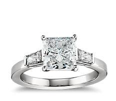 Tapered Brilliant Baguette Diamond Engagement Ring in Platinum(1/2 ct. tw.)