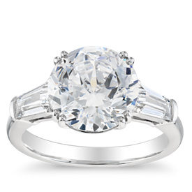 Blue Nile Studio Tapered Baguette Engagement Ring in Platinum (1/2 ct. tw.)