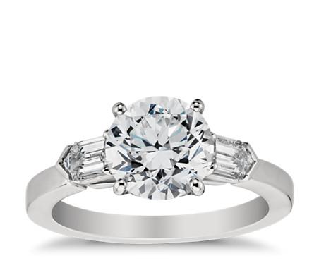 Tapered Bullet Diamond Engagement Ring in Platinum