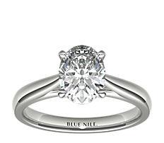 铂金尖顶大教堂单石订婚戒指