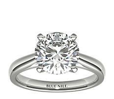 鉑金尖頂大教堂單石訂婚戒指