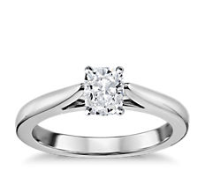 Tapered Cathedral Solitaire Engagement Ring in 14k White Gold