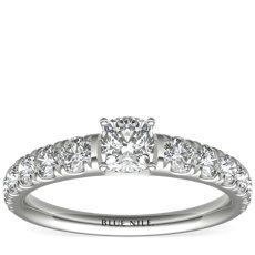 Graduated Tazza Pavé-Set Diamond Engagement Ring in Platinum (3/4 ct. tw.)